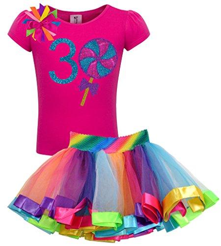 Bubblegum Divas Little Girls' 3rd Birthday Giant Swirly Lollipop Rainbow Tutu Outfit 3T