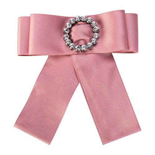 Iridescent Winter Costumes (LMIKNI New Women Bowknot Crystal Brooch Ribbon Fabric Corsage Broche Costume Accessories 2018 (Pink))