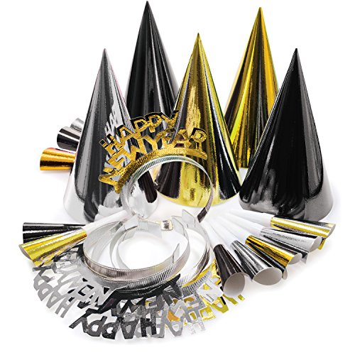 t for 10 Black, Gold, Silver, Tiaras, Hats, Horns 20 Pieces Total (New Years Kit)