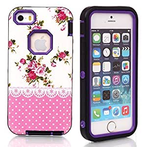 6 plus Case, Case For Iphone 6 plus Cover Case,Case For Iphone 6 plus Cover Case, New, Magicsky Case For Iphone 6 plus Cover Cover with Pink Flower Polka Dot Pattern Full Body Hybrid Impact Shockproof Defender Case For Iphone 6 plus Cover, 1 Pack(Baby Pink Flower/Purple)