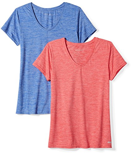 Amazon Essentials Women's 2-Pack Tech Stretch Short-Sleeve V-Neck T-Shirt, Fiery Coral Cobalt Heather, Large