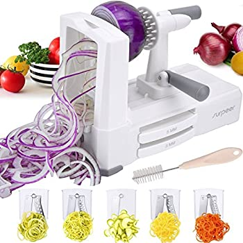 Vegetable Spiralizer, SURPEER 5-blade Vegetable Slicer with Study Suction - Anti-Slip Handle - Best Zucchini Noodles/Veggie Pasta&Spaghetti Maker, Storage Container- Catch- Spiralizer Recipes Included