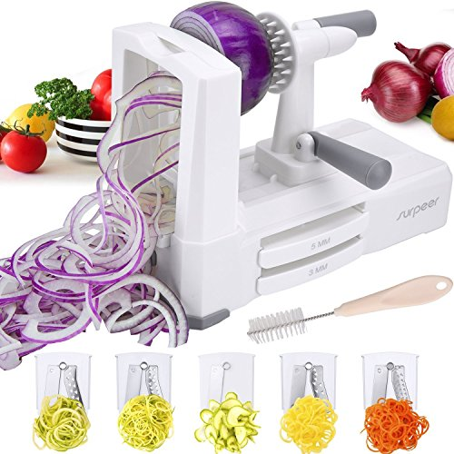 SURPEER 5-Blade Slicer For Fruits And Vegetables,Noodle Spiralizer With Sturdy Suction,Heavy Duty Base Spaghetti Squash,Hand Mixer For Low Carb/Paleo/Gluten-Free Meals,With Spiralizer (Option Digital Mixer)
