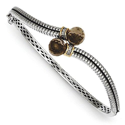Grain jaune 14 carats diamant Quartz fumés Bracelet jonc style ancien Motif JewelryWeb