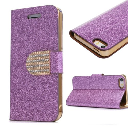 iphone 5C Case, Welity Hot Purple Color Bling Wallet Luxury Leather Magnetic Flip Cover Case for Apple iPhone 5C and one gift