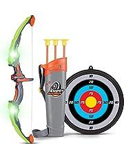 SainSmart Jr. Uppsättning med rosett och pil för barn, bågskytte skytte med 3 pilar, presentset för pojkar 6 år och äldre, grön