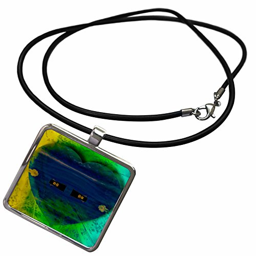 - 3dRose Jos Fauxtographee Abstract - The Shape of a Blue Heart on a Yellow and Turquoise Background - Necklace With Rectangle Pendant (ncl_39179_1)