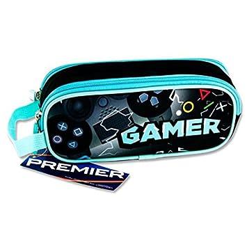 Premier Stationery C5615785 Gamer Design Campus - Estuche ovalado con 2 bolsillos y cremallera