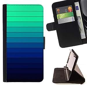 For Samsung Galaxy S6 Case , Gradiente de color Rayas Azul Verde Luz- la tarjeta de Crédito Slots PU Funda de cuero Monedero caso cubierta de piel