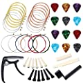 Auihiay 46 Pieces Acoustic Guitar Strings Changing Kit Guitar Tool Kit Including Guitar Bone Nut and Bone Bridge Guitar String Picks Capo Guitar String Winder Pin Puller