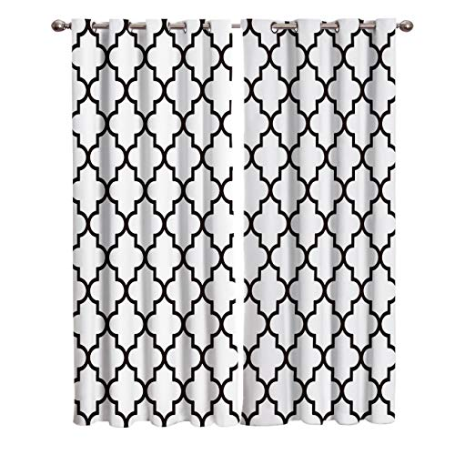 YEHO Art Gallery Blackout Window Curtains for Bedroom Living Room Drapes,Classic Prismatic Pattern Black and White 2 Panels Blackout Curtains,Thermal Insulated Blackout Curtains,104