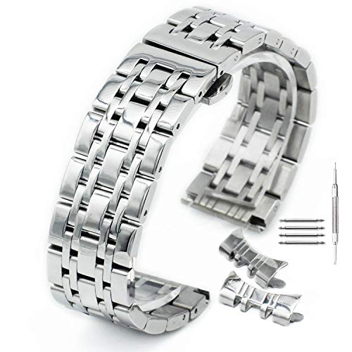 Curved Stainless Steel Polished Metal Watch Band Strap Butterfly Buckle Clasp Men Women 14-24mm Silver
