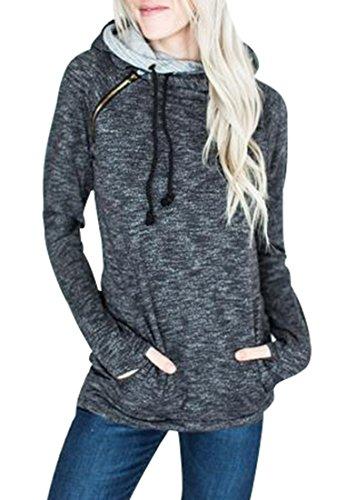 Collar Side Zipper - Anbech Women Long Sleeve Hoodie Sweatshirt Side Zipper Collar Pullover Coat with Pockets (XL, Darkgray)