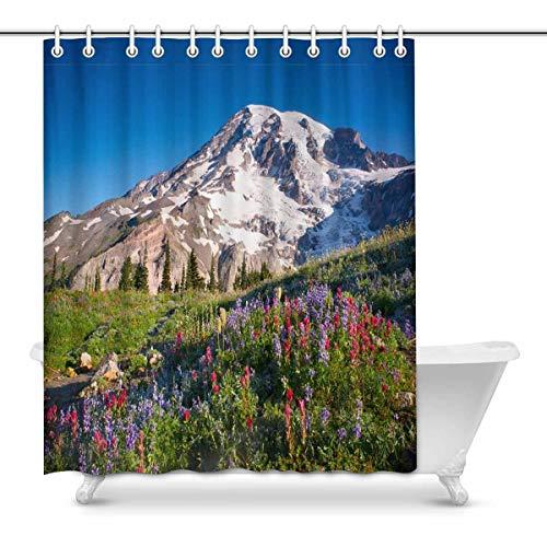 InterestPrint Mt Rainier National Park Wildflowers Summer Time Cascade Mountain Wilderness Fabric Bathroom Decor Shower Curtain Set with Hooks, 72 Inches Long