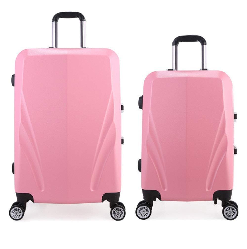 スーツケース ロック付き軽量スーツハードシェルパイロット旅行荷物トロリースーツケースキャリーコラム垂直サイレントローテーター多方向航空機搭乗 圧縮服スーツケース (色 : ピンク, サイズ : 20in+24in) B07SY7XMKV ピンク 20in+24in