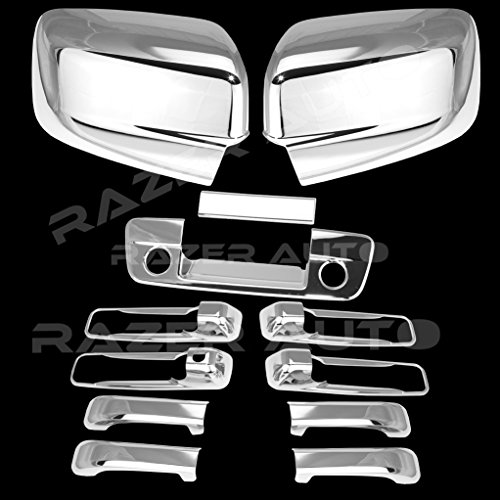 Razer Auto Regular Mirrors only (Not For Towing Mirror) Triple Chrome Plated Mirror, 4 DH W/O Passenger KH, Tailgate With Keyhole with Camera hole Cover for 09-15 Dodge Ram 1500, 10-15 Ram 2500/3500 Chrome 1500 Triple Handle