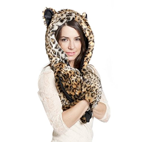 Leopard Hoodie (Women 3 in 1 Animal Hoodie Faux Fur Cosplay Hat Fluffy Plush Hood Scarf Glove)