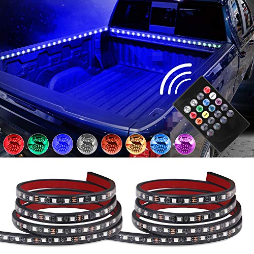 """VANJING 2PCS 60"""" RGB LED Truck Bed Light Strip Kit with Sound-Activated Function Wireless Remote for Truck Bed Cargo Boat Pickup RV SUV Waterproof IP67 Lighting Kit Tailgate Light 12v ()"""