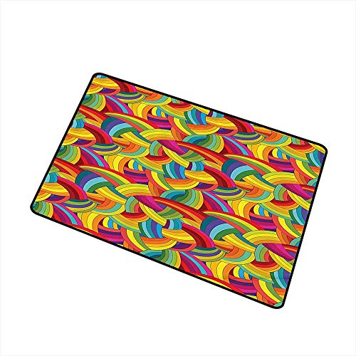 Jbgzzm Outdoor Door mat Abstract Home Decor Collection Colorful Rainbows Wheels Spiral Wavy Round Fashionable Cartoon Style Pasttern W31 xL47 with Anti-Slip Support Yellow Red Blue