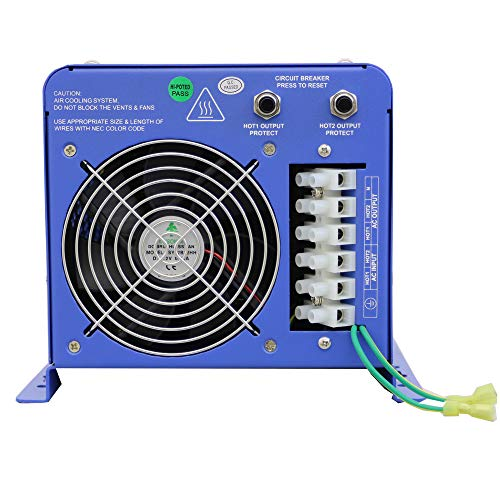 AIMS Volt Charger, 6000 Frequency Inverter Split Phase, Battery Selector, Terminal Block, GFCI