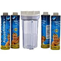 """KRPLUS Transparent Pre Filter Crystal Housing Bowl Kit With 4 Pcs. of 9"""" MLT Thread Candles, 1/4"""" Elbow Connectors Compatible With All types of RO/UV/UF Water Purifiers Transparent"""
