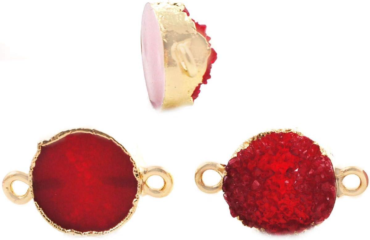 2pcs Rojo Rubí Druzy piedra PRECIOSA de Imitación de Piedra de la Resina de Conectores bañados en Oro Pulsera Colgante de Metal Resultados de 13,5 mm x 23 mm