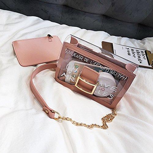 de Pink de Bolso de de fresca bolso y del transparente la señora la hombro de verano la del hombro la bolsa de correa jalea dAdEwg