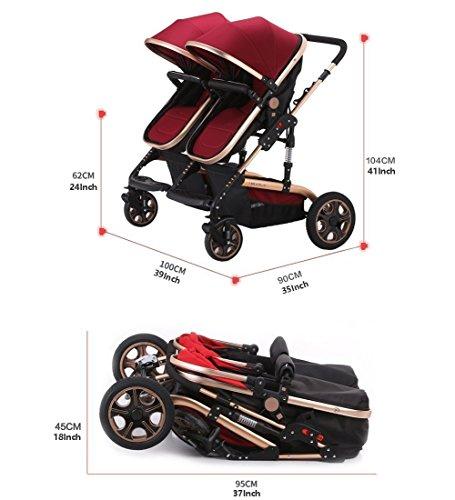 Double Stroller Newborn Infant Side by Side Twin Stroller Anti-shock Pram Pushchair-Red by Movker (Image #3)