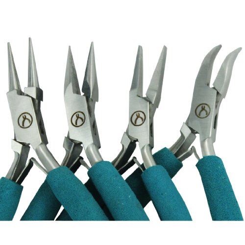 (Baby Wubbers Pliers Complete Set: Chain Nose, Bent Chain Nose, Flat Nose and Round Nose Pliers with Plier Care Article by Jewelry Artist Charlene Anderson)