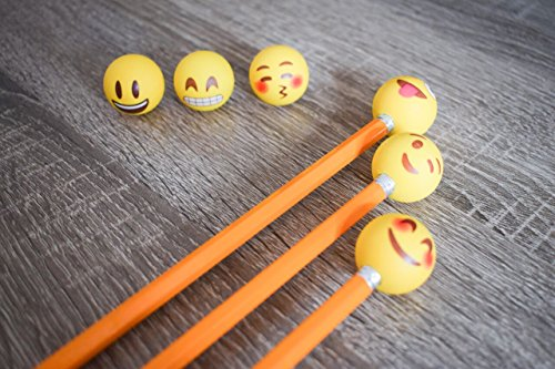 Pencil Top Erasers - Emoji Erasers for Kids - Fun Pencil Top Eraser - Everything Emoji Cute Pencil Eraser Tops (Set 4 (18 pack)) by I EM JI (Image #5)