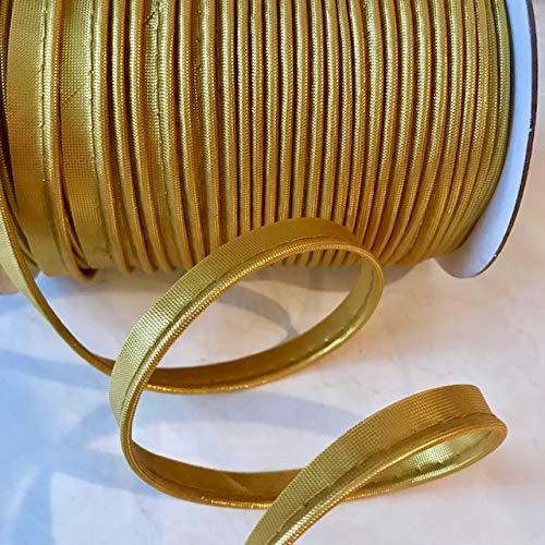 Cord-Edge -Piping Trim Yellow Satin -Lip Cord for Clothing Pillows, Lamps, Draperies 10 Yards (Metallic Gold)