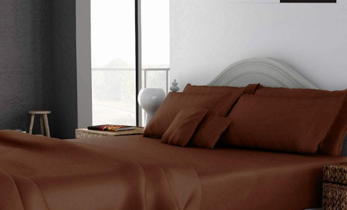 Lightweight Best Bed Sheet Set 42X80 Size Chocolate Solid 6 Piece 400 Thread Count Bedding Blend Durable /& Luxury RK Linen Natural Egyptian Cotton RV BUNK Easy to Care