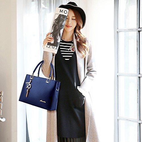 de de de mujer Colgante Bolso Negro Azul Bolso Asa moda superior de Cuero Hombro Bolso de patrón Caída con Bolso Linda señora daq8wg