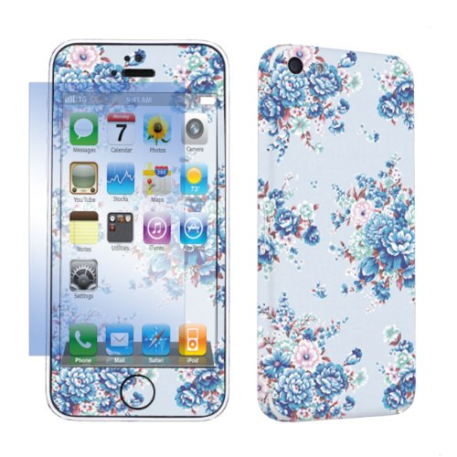 Apple iPhone 5C Full Body Vinyl Decal Sticker Skin + Screen Protector By SkinGuardz - Blue Floral