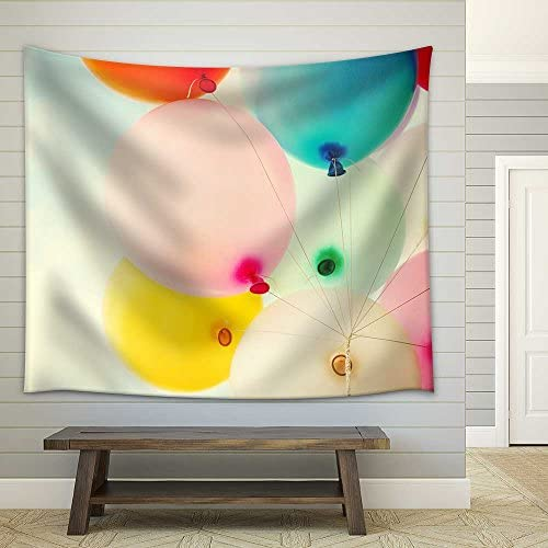 Vintage Heart Balloon with Colorful on Blue Sky Concept of Love in Summer and Valentine Wedding Honeymoon Fabric Wall