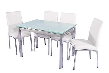 BUDMOSUR Conjunto mesa extensible y 4 sillas de comedor ...
