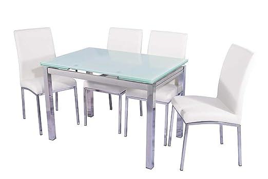 BUDMOSUR Conjunto Mesa Extensible y 4 sillas de Comedor: Amazon.es ...