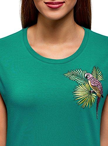 Ricamo Ultra con T 6d47p Cotone Verde in oodji Donna Shirt 0wpFqWF6xa