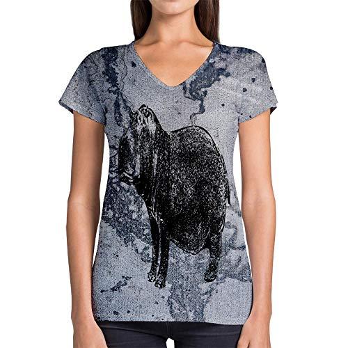 Idakoos Animal River Hippopotamus 3D - Women V-Neck T-Shirt Polyester Novelty