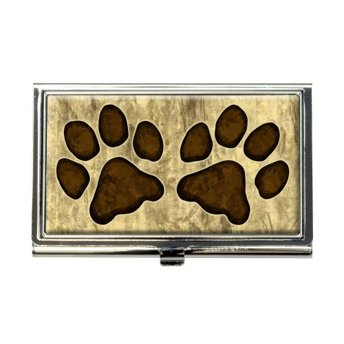 Grungy Pet Paw Prints Business Credit Card Holder (Pet Business Cards)