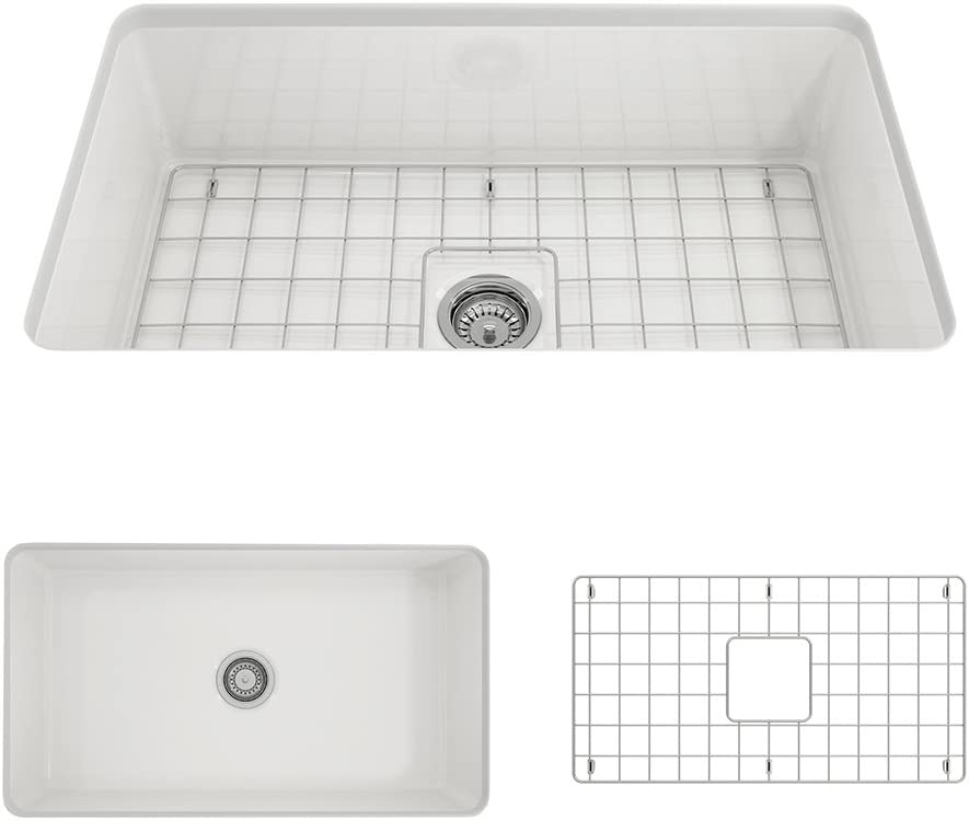 BOCCHI 1362-001-0120 Sotto Undermount Fireclay 32 in. Single Bowl Kitchen Sink with Protective Bottom Grid and Strainer in White