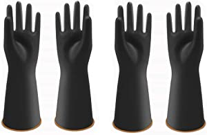 UXglove Heavy Duty Latex Gloves, Safety Work Cleaning Protective Waterproof Industrial Rubber Gloves,14
