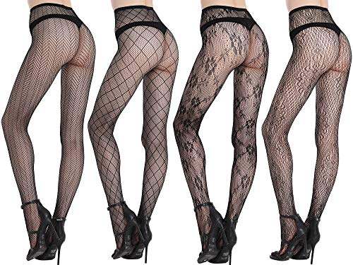 Joyaria Womens Sexy Lace Patterned Tights Fishnet Floral Stockings Pattern Pantyhose 4 Pack - http://coolthings.us
