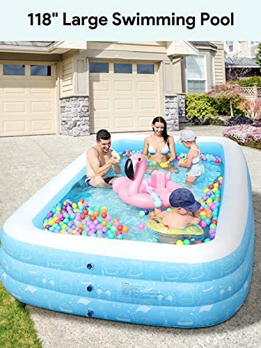 Freedom Series Large Inflatable Pool, Inflatable Swimming Pools 118 x 73 x 20 Kiddie Pool Blow Up Pool Family Swimming Pool for Kids, Adults, Babies, Toddlers, Outdoor, Garden, Backyard