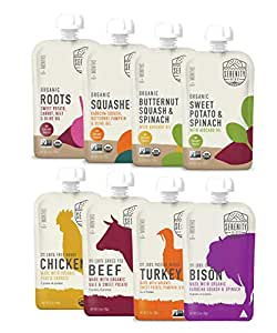 Serenity Kids Baby Food, Organic Savory Veggies and Ethically Sourced Meats Variety Pack, For 6+ Months, 3.5 Ounce Pouch (8 Pack)