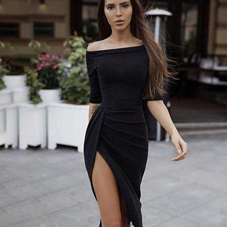 495ed3d4f2 Vestido de Las Señoras Slim Fit Falda Media Longitud Collar de una Palabra  Apretado Cadera Color Sólido Dividir Suave Casual Espumoso Primavera Vestido  de ...