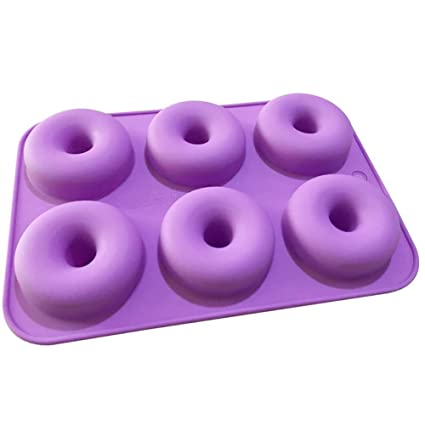 Pack Silicone Donut Moulds 6 Cavity Non-Stick Baking Tray Pan for Cake Biscuit
