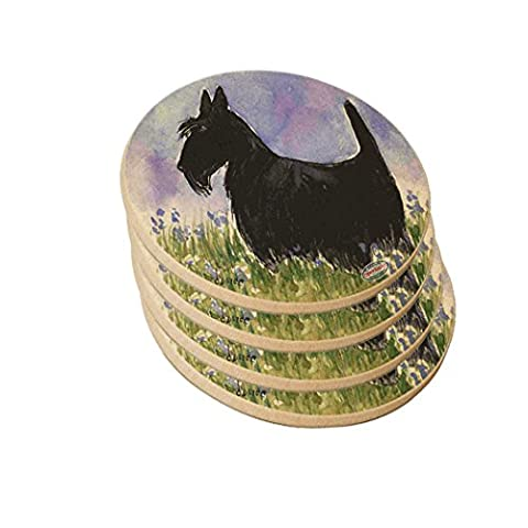 Ceramic Sandstone Drink Coaster Set - Black Scottish Terrier with Blue Flowers Scottie Dog Art by Denise - Scottie Dog Art