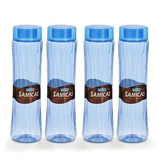 Steelo Plastic Water Bottle, 1.1 Litre, Set Of 4, Blue (SAMI10004BLU)