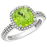 14K White Gold Natural Peridot Cushion 8x8 mm with Diamond Accents, sizes 5 - 10